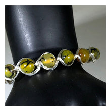 Load image into Gallery viewer, Braided green crackled Agate Sterling Silver Bracelet