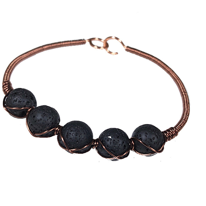 Essential Oil Diffuser Black Wire Wrapped Antiqued Copper Bracelet