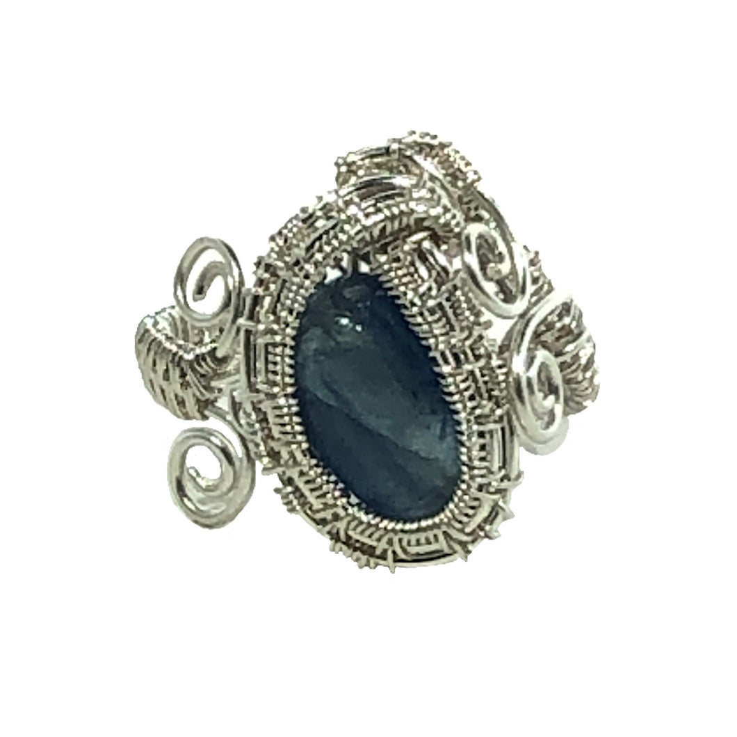 Kyanite Wire Wrapped Sterling Silver Adjustable Ring