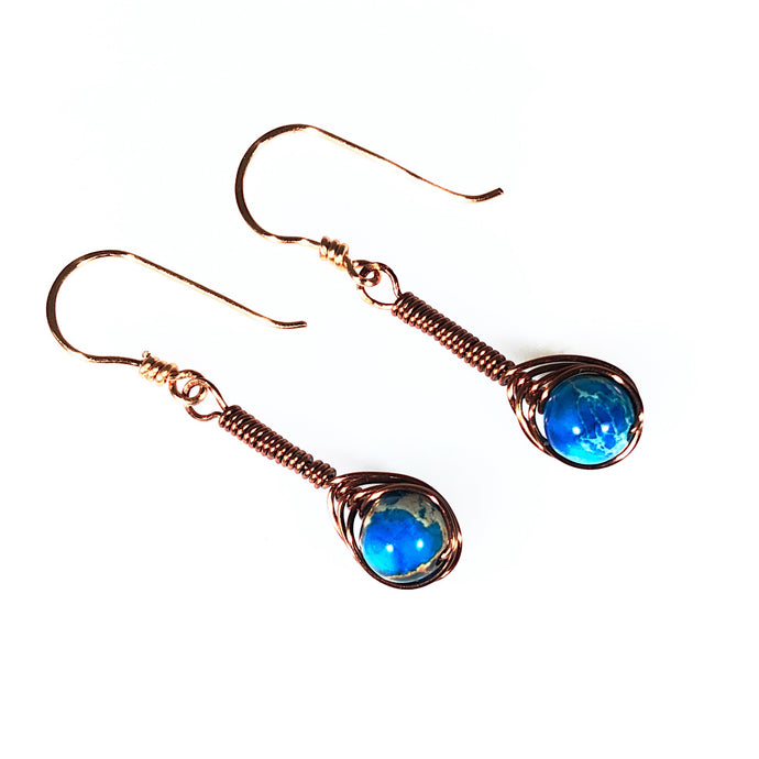 Blue Twist Wire Wrapped Antiqued Copper Earrings | Grace Andersen Designs