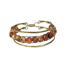 Load image into Gallery viewer, Stacked Wooden Bead Wire Wrapped Brass Bracelet