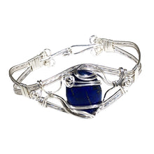 Load image into Gallery viewer, Lapis Wire Wrapped Sterling Silver Bracelet