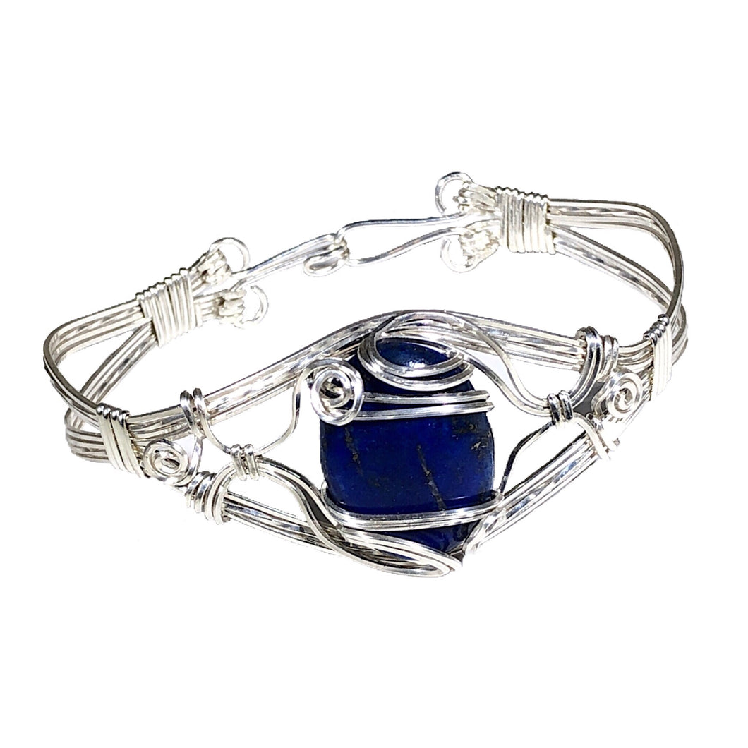 Lapis Wire Wrapped Sterling Silver Bracelet