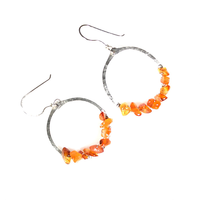 Orange Agate Sterling Silver Hoop Earrings | Grace Andersen Designs