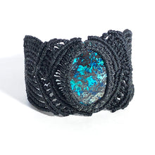 Load image into Gallery viewer, Black Macrame Azurite Bracelet | Grace Andersen Designs