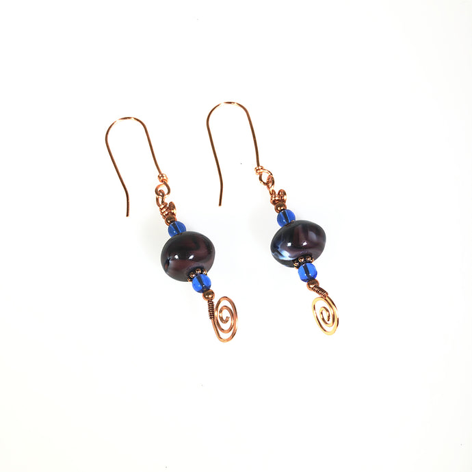 Purple Swirl Copper Earrings | Grace Andersen Designs