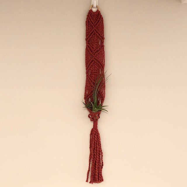 Macrame plant holder red