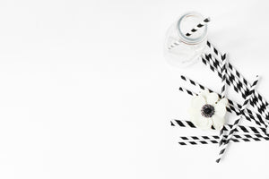 Black and White Stripes Paper Straws
