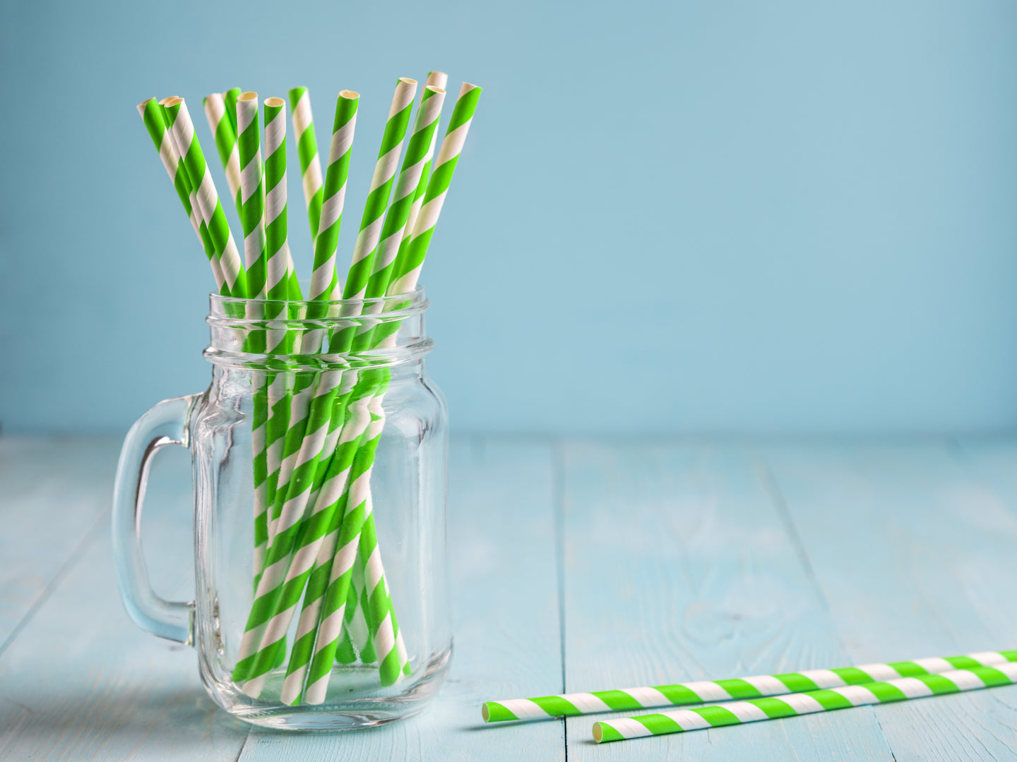 Green and White Stripes Paper Straws 6mm x 200mm