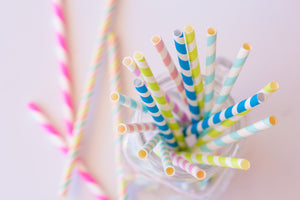 Yellow and White Stripes Paper Straws