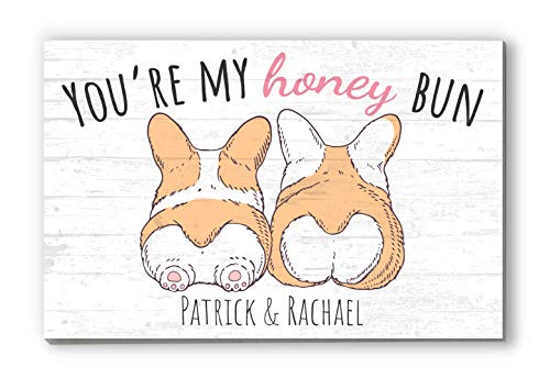 "Cute Sign for Wife or Girlfriend Customized Solid Wood Decor ""You're My Honey Bun"" - 16.5"" x 10.5"""