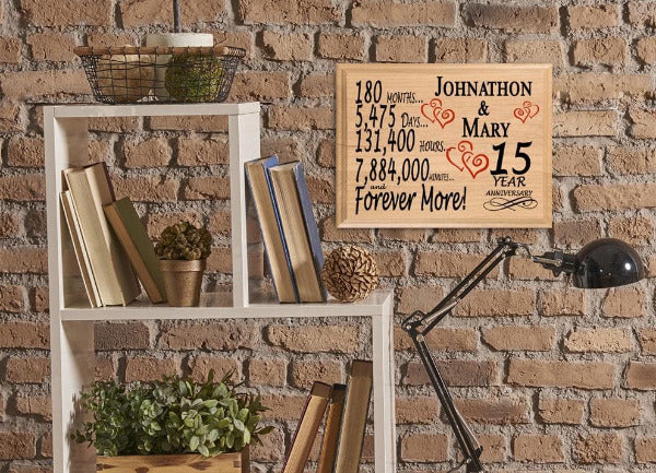 15th Wedding Anniversary Gift Ideas For Wife: 15th Anniversary Gift Sign Personalized 15 Year SAME DAY