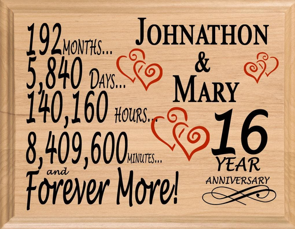16 Year Anniversary Gifts Personalized 16th For Her Him Couple