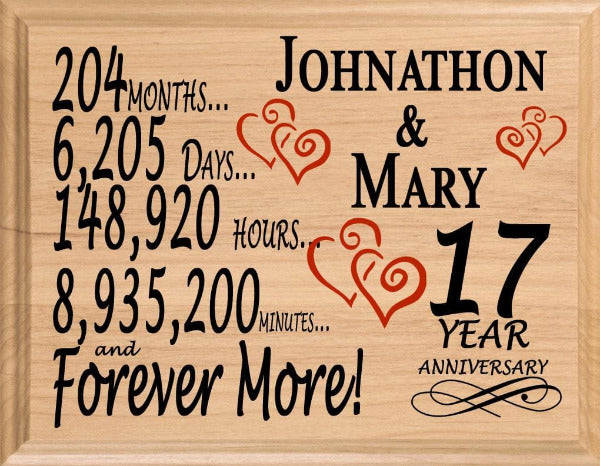 17 Year Anniversary Gifts Personalized 17th For Her Him Couple