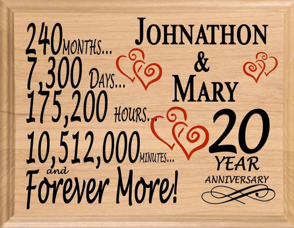 20 Year Anniversary Gifts Personalized 20th For Her Him Couple  sc 1 st  PERSONALIZEDandFAST & 20 Year Anniversary Gift Sign Personalized 20th Wedding Anniversary ...