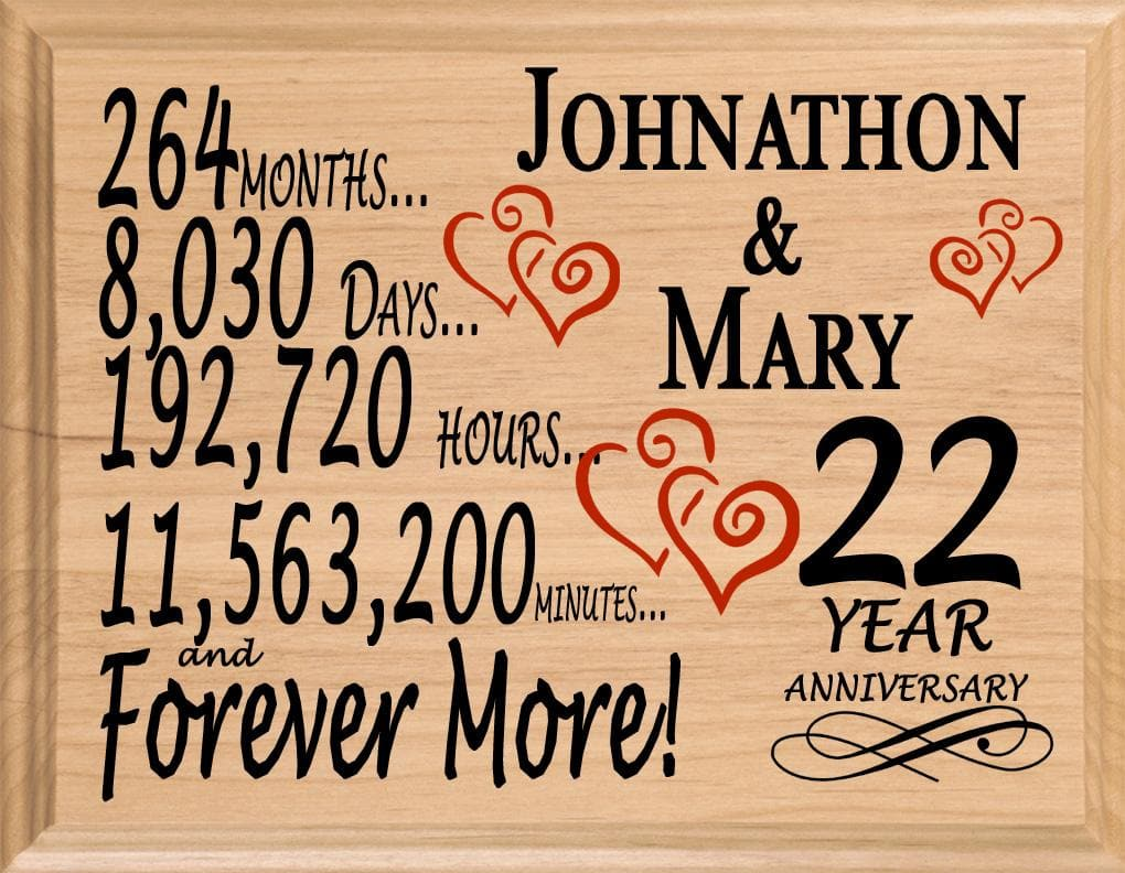 22 Year Wedding Anniversary Gift: 22nd Wedding Anniversary Gift Sign Personalized For Him Or