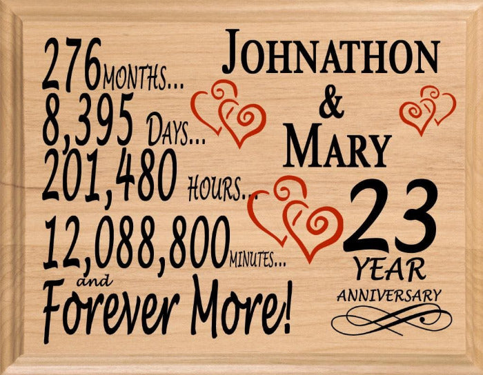 23rd Wedding Anniversary Gift Ideas: 23rd Wedding Anniversary Gift Personalized Sign For