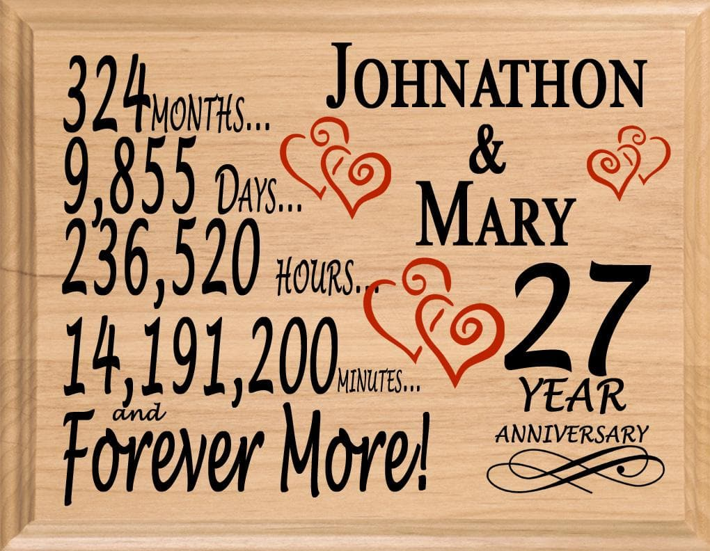 27 Year Anniversary Gifts Personalized 27th For Her Him Couple  sc 1 st  PERSONALIZEDandFAST & 27 Year Anniversary Gift Sign Personalized 27th Wedding Anniversary ...