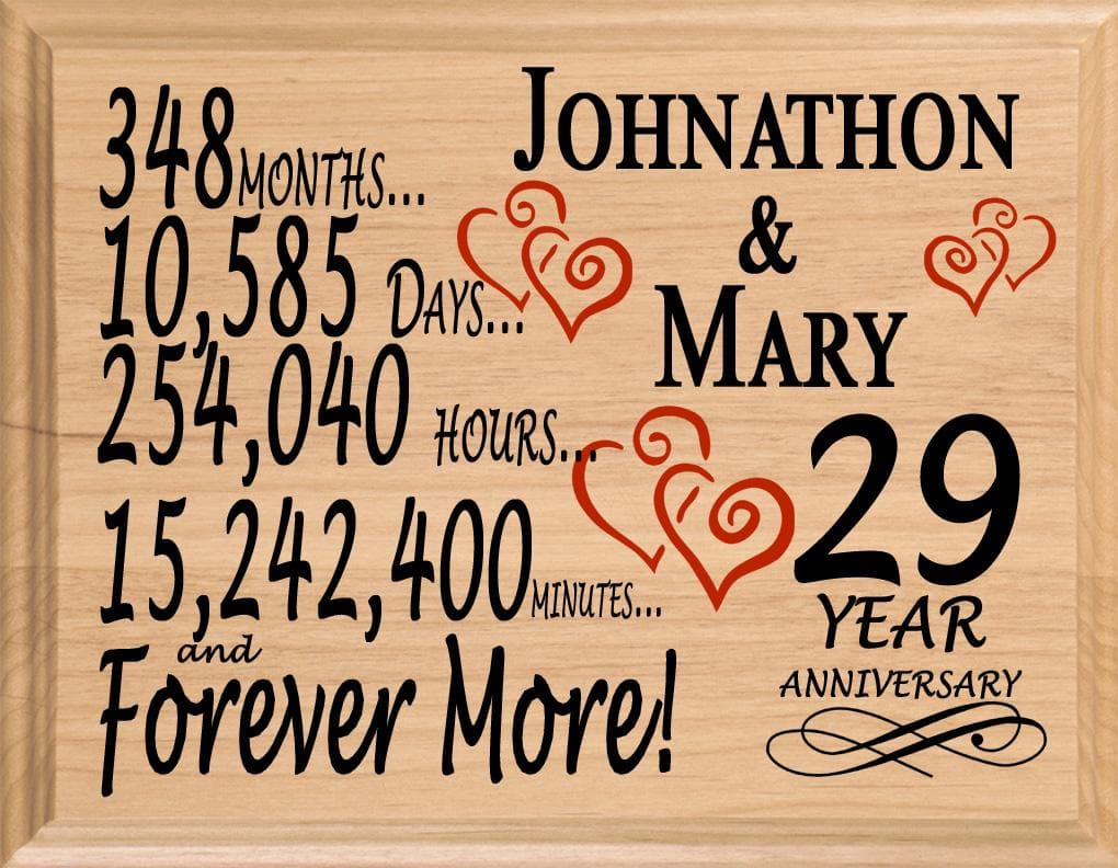 29 Year Anniversary Gifts Personalized 29th For Her Him Couple