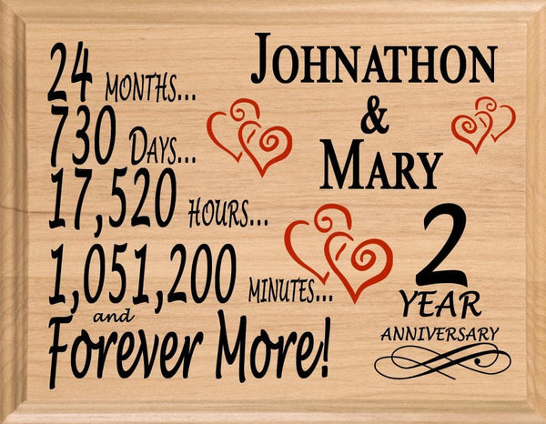 2 Year Anniversary Gifts Personalized 2nd Wedding Anniversary