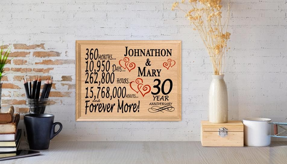 Thirty Year Wedding Anniversary Traditional Gift: 30 Year Anniversary Gift Sign Personalized 30th Wedding