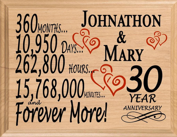 30 Year Anniversary Gifts Personalized 30th For Her Him Couple
