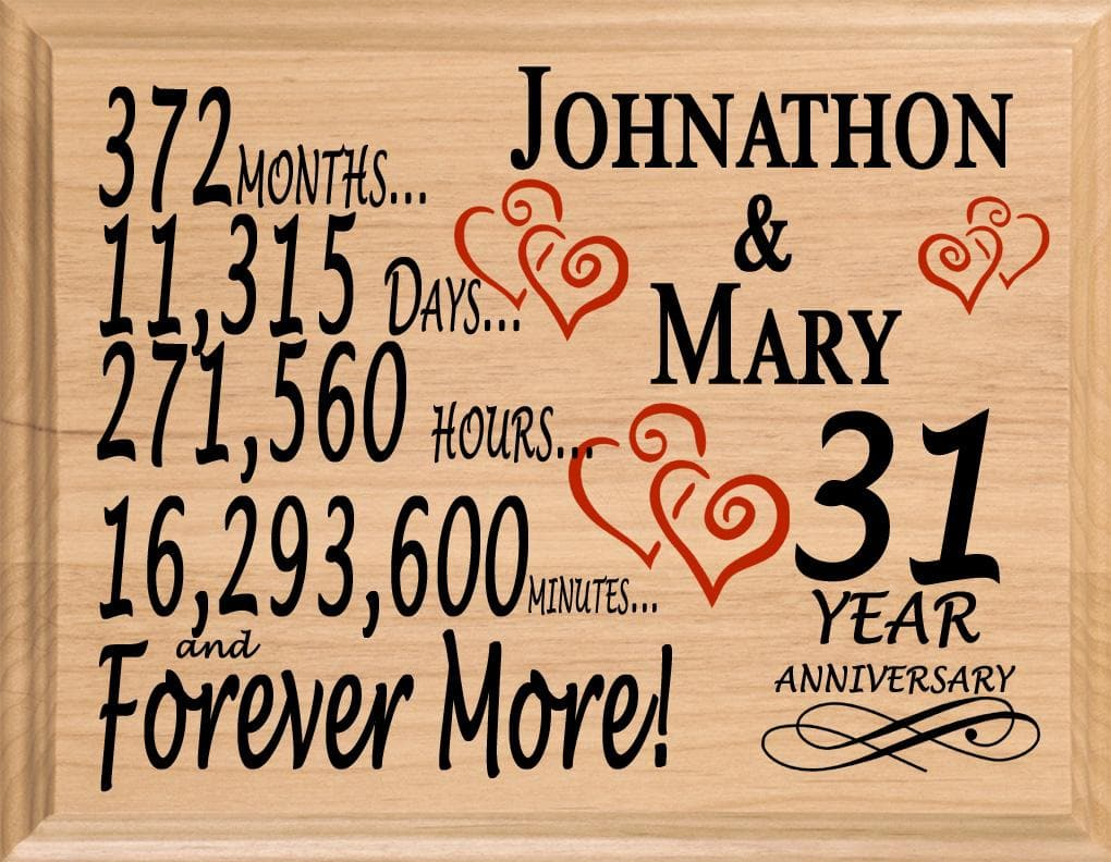 Best 31 Year Anniversary Gift Sign Personalized 31st Wedding Anniversary