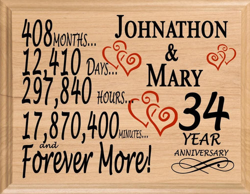 34 Year Anniversary Gift Sign Personalized 34th Wedding Anniversary