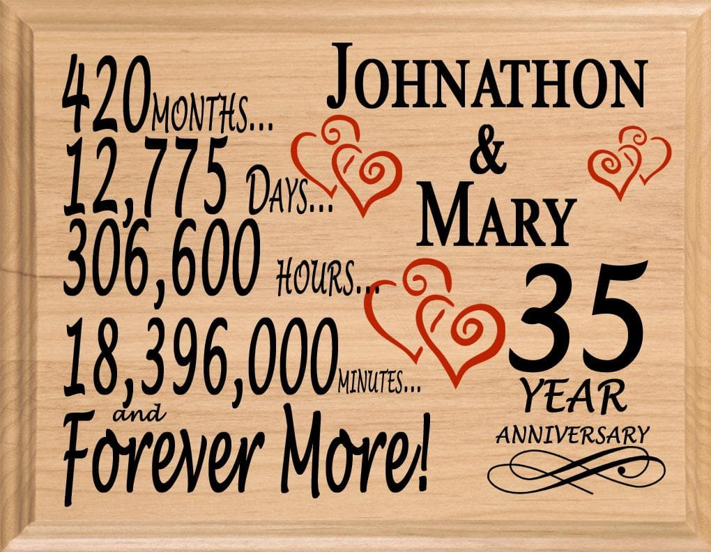 35th Wedding Anniversary Gift.35 Year Anniversary Gift Sign Personalized 35th Wedding Anniversary