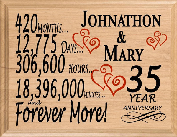35 Year Anniversary Gift Sign Personalized 35th Wedding Anniversary