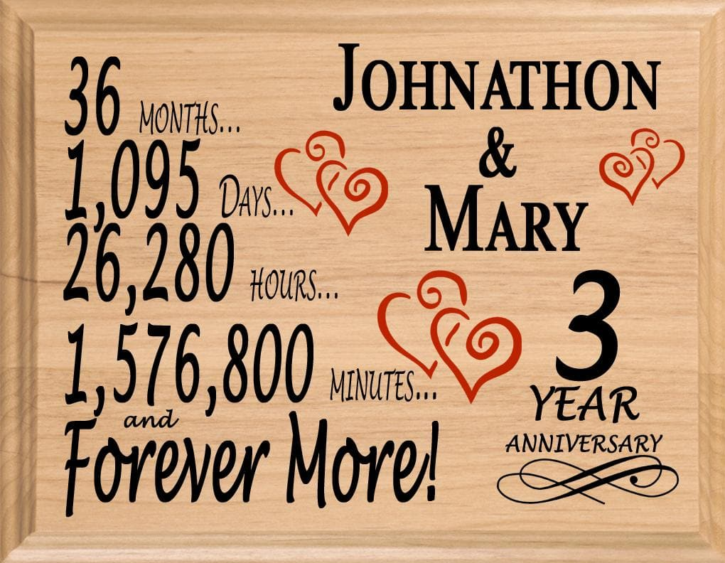 03010813aab86 3 Year Anniversary Gift Sign Personalized 3rd Wedding Anniversary ...