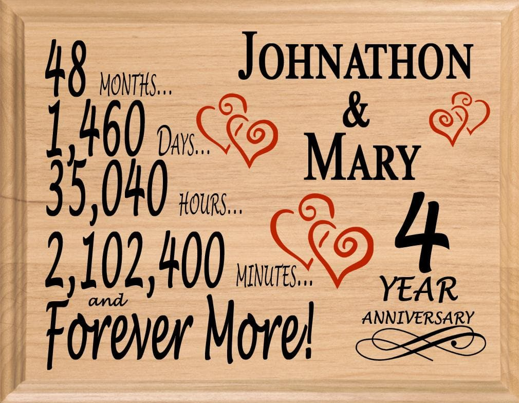 Gifts For 4th Wedding Anniversary: 4 Year Anniversary Gift Sign Personalized 4th Wedding