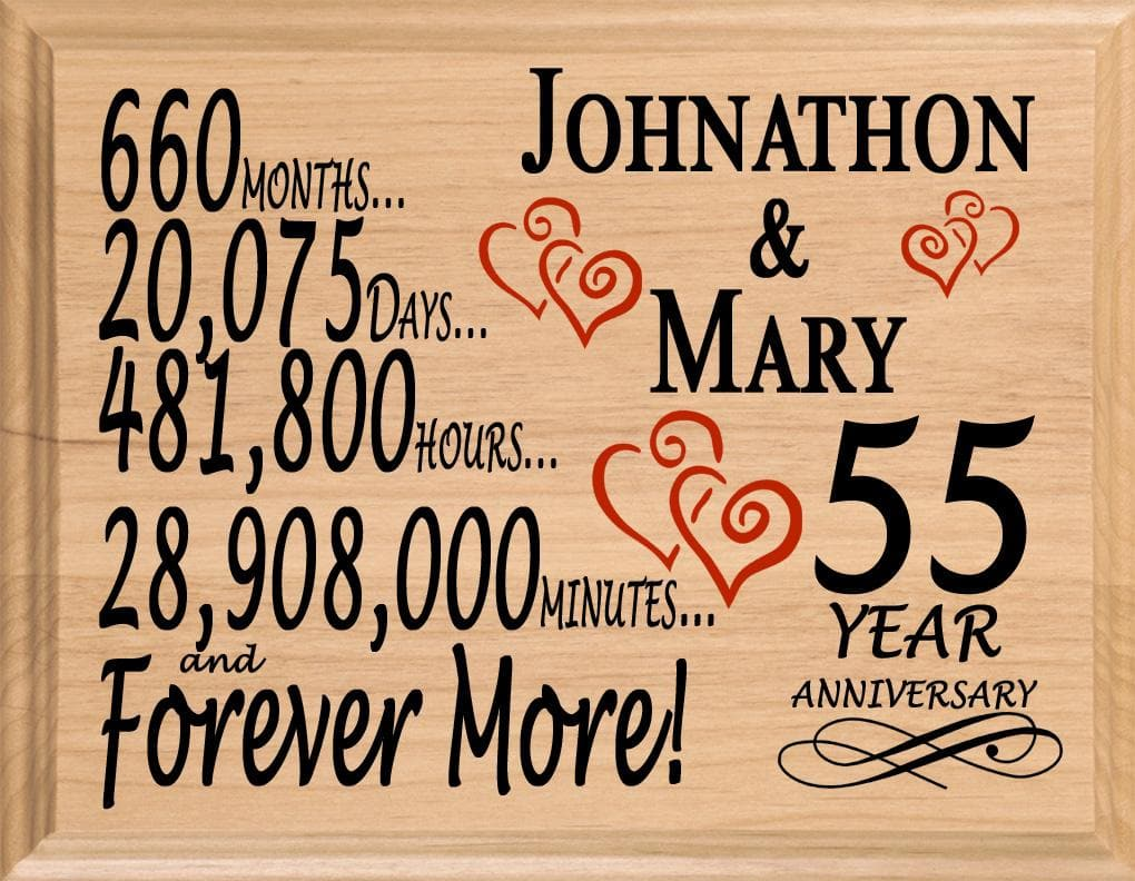 55th Anniversary Gift Sign Personalized 55 Year Wedding Anniversary