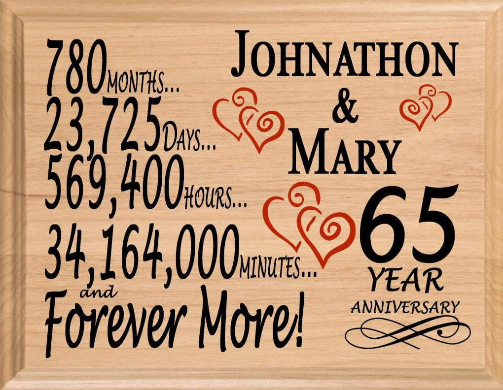 65th Anniversary Gift Sign Personalized 65 Year Wedding Anniversary
