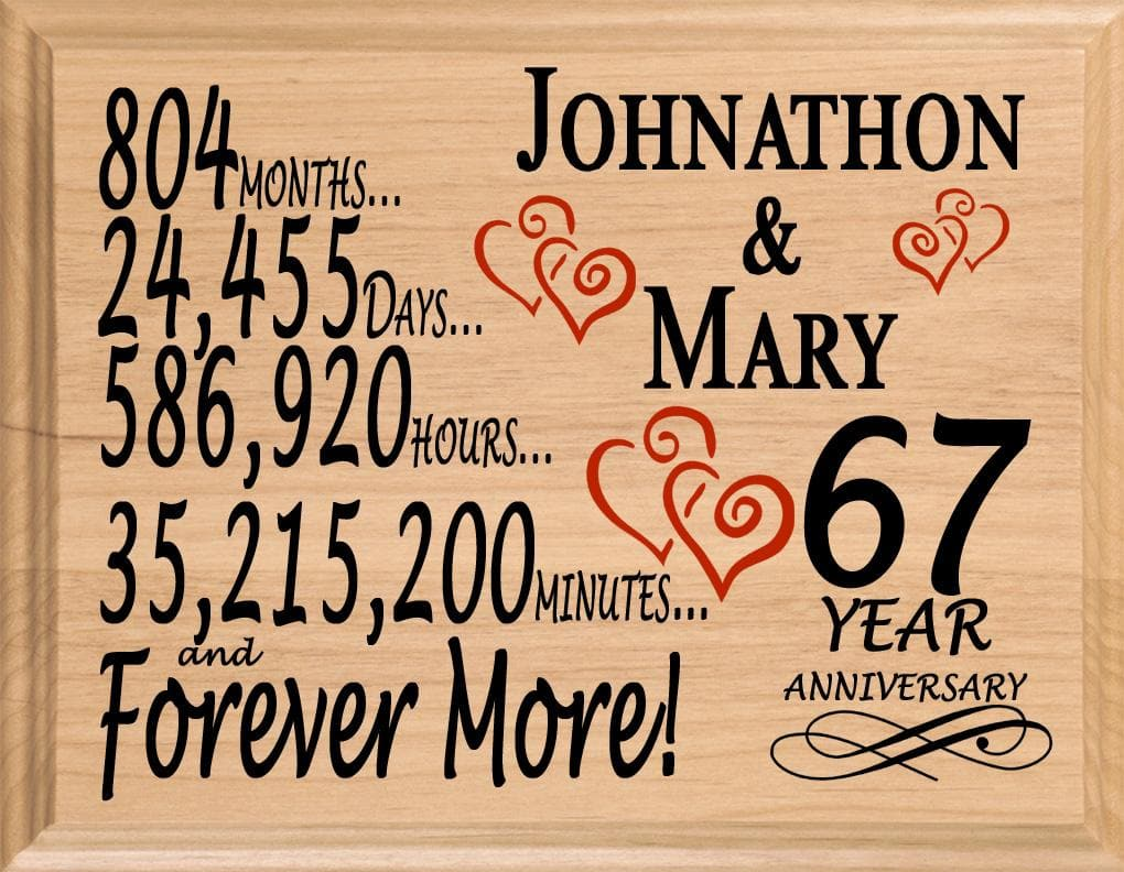 67th Anniversary Gift Sign Personalized 67 Year Wedding Anniversary