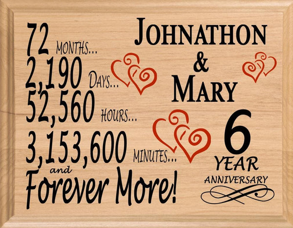 6 Year Anniversary Gift Sign Personalized 6th Wedding Anniversary