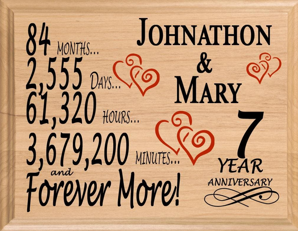 7th Wedding Anniversary.7 Year Anniversary Gift Sign Personalized 7th Wedding Anniversary