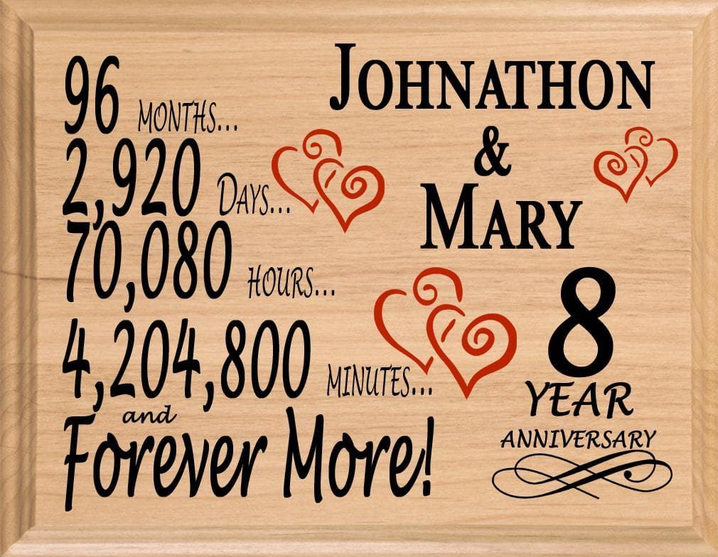 8th Wedding Anniversary.8 Year Wedding Anniversary Gift Sign Personalized 8th Anniversary