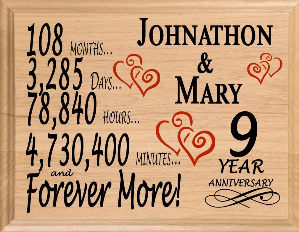 9th Wedding Anniversary Gift.9th Wedding Anniversary Gift Sign Personalized 9 Years For Him Or Her