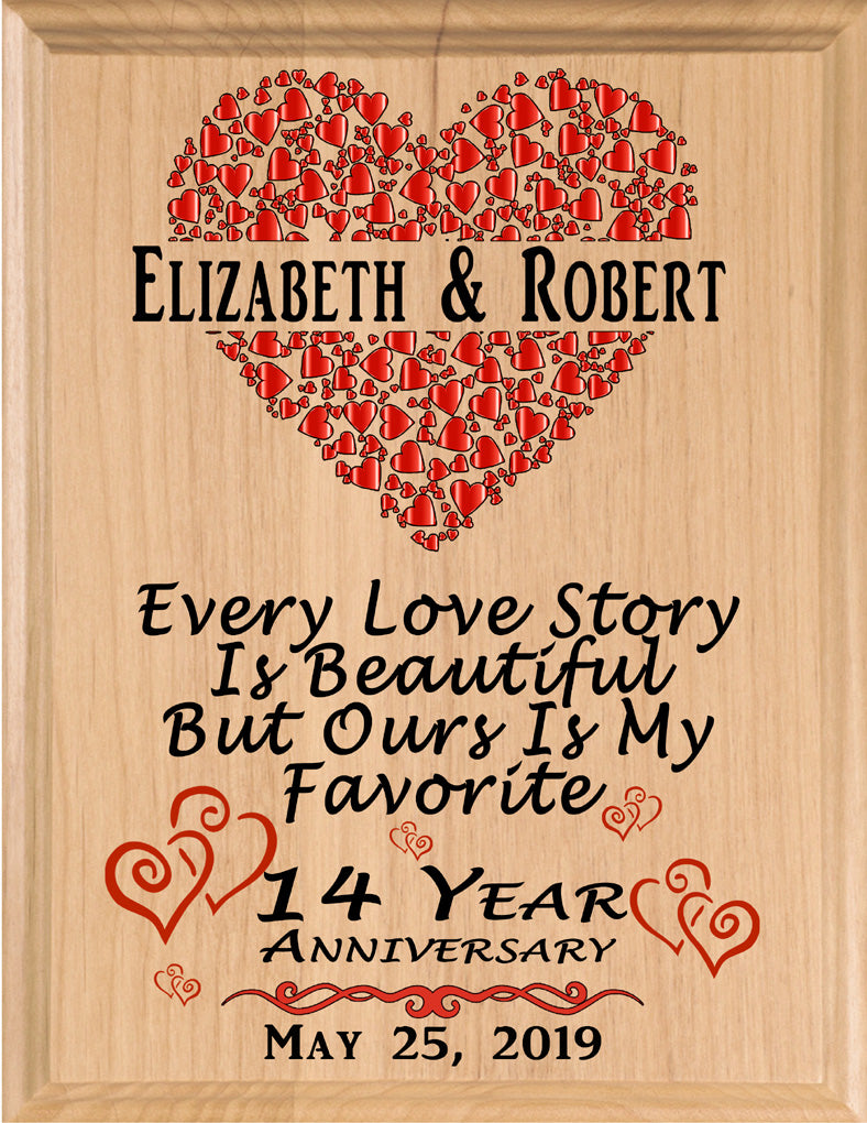 Personalized 14 Year Anniversary Gift Sign Every Love Story
