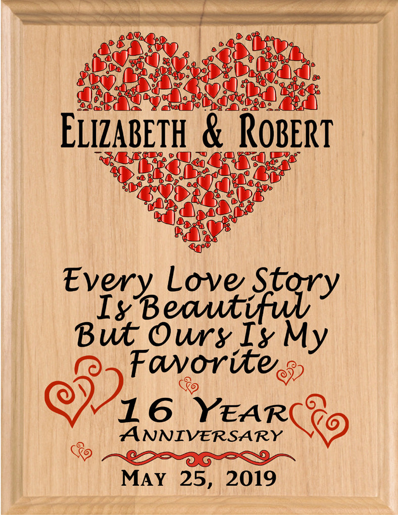 Personalized 16 Year Anniversary Gift Sign Every Love Story
