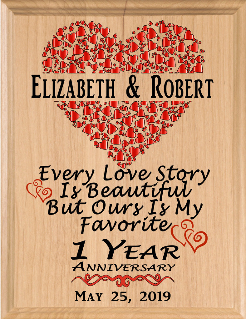 Personalized 1 Year Anniversary Gift Sign Every Love Story