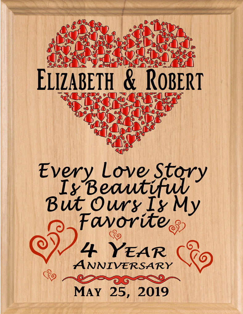 Personalized 4 Year Anniversary Gift Sign Every Love Story
