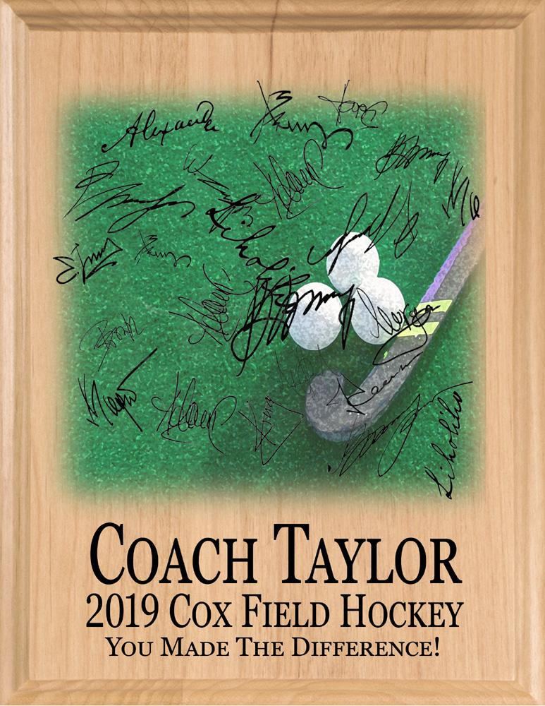 Signable Field Hockey Plaque