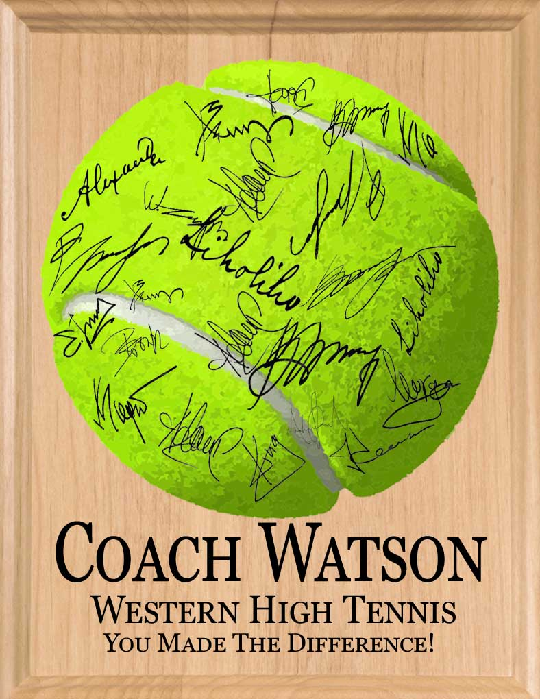 Tennis Coach Plaque Signable