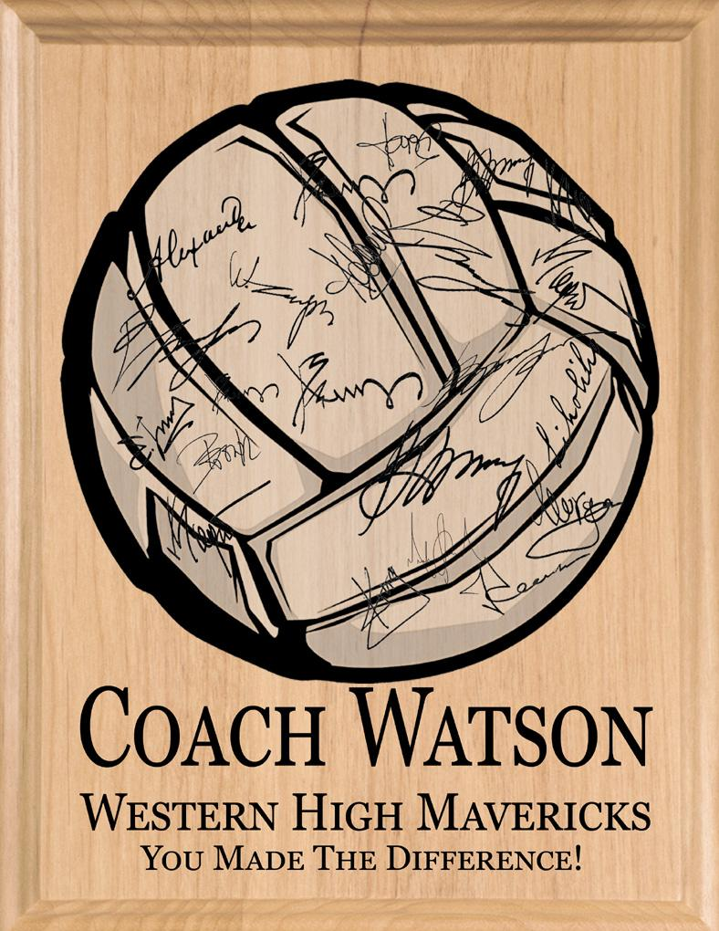 Signable Volleyball Coach Plaque