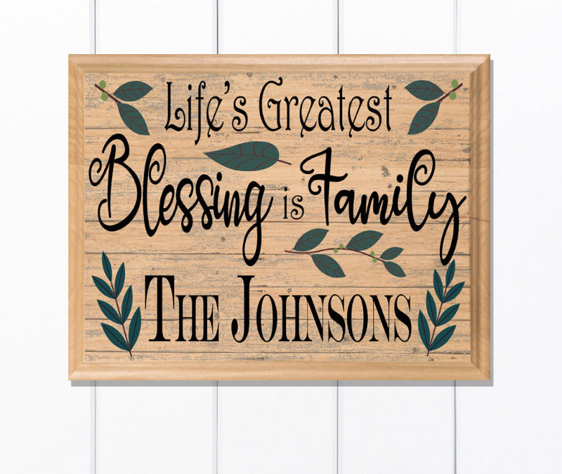 Custom Family Blessings Wall Decor Personalized Maple Wood Religious Art