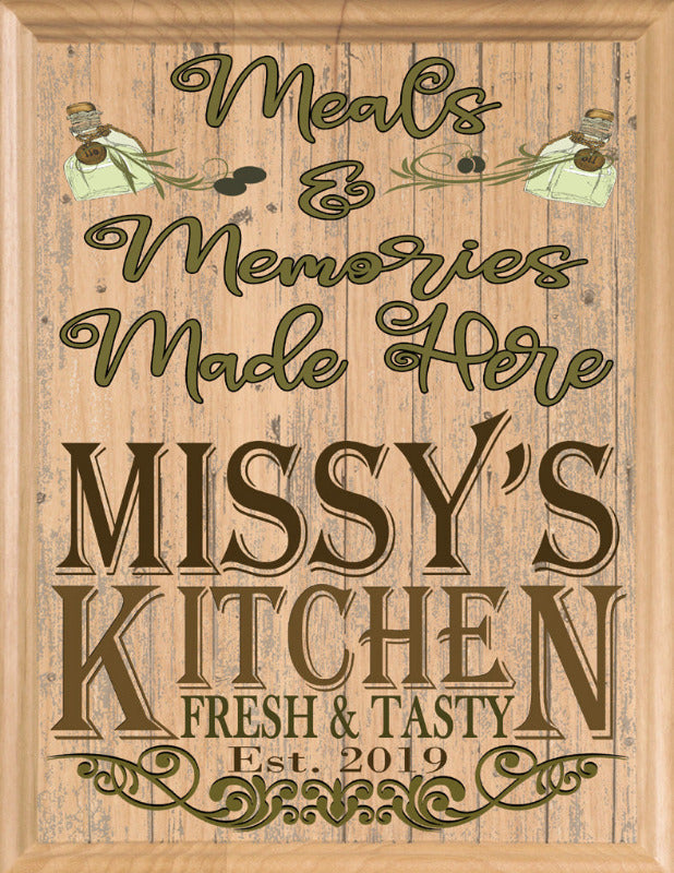 "Customized Kitchen Name Signs Personalized Solid Maple Wood Kitchen Decor Gift for Men Women Cooks Chefs - 11"" x 8.5"""