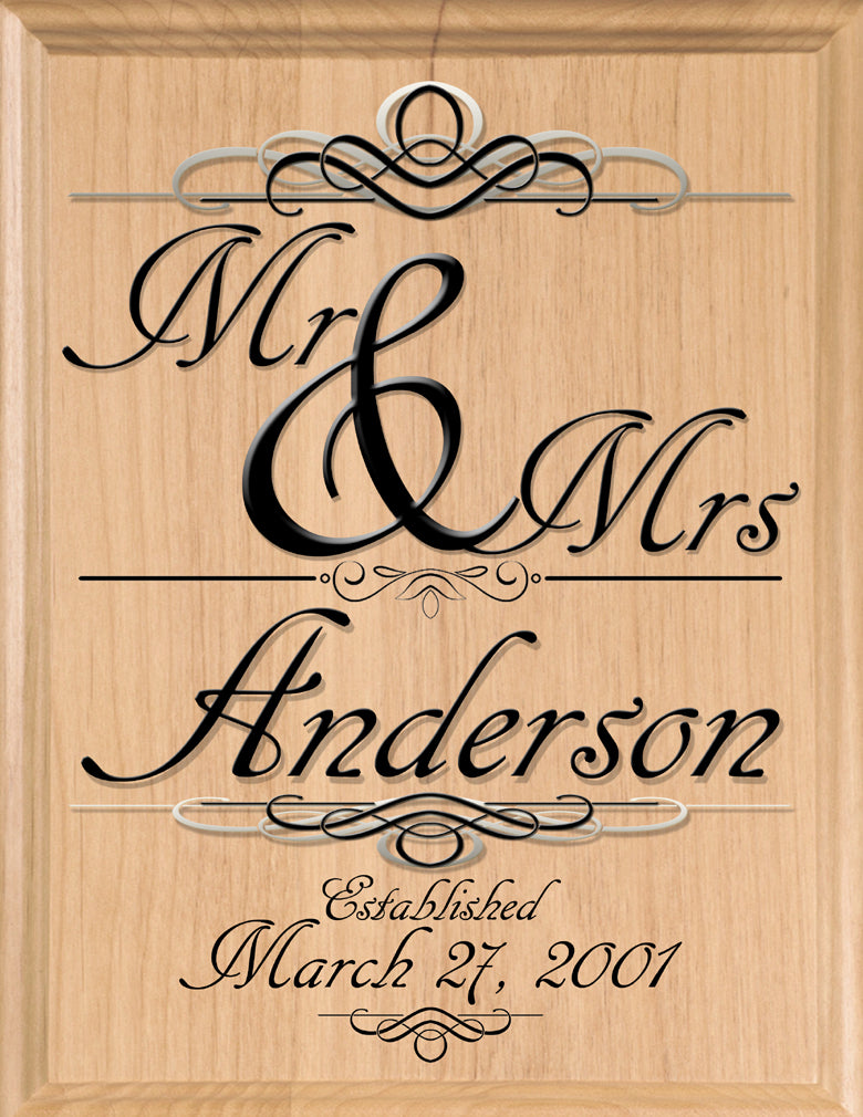 Wedding Gift Sign Customized Mr & Mrs Family Name Established Personalized for Newlywed Couple EST. Date