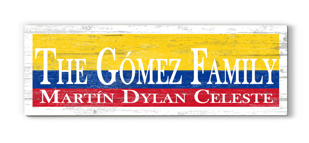 Personalized Republic of Colombia Flag Family Name Sign Customized Colombia Rustic Décor for a Colombian Home, Man Cave, Kitchen, or Wedding Gift